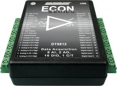 DT9812A  Low Cost USB Data Acquisition (DAQ) Module, 12-bit, 100kHz, 8 AI, 2 AO, 16 DIO, 1 C/T, +/-10V input range