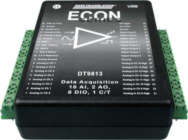 DT9813-10V  Low Cost USB Data Acquisition Module, 12-bit, 50kHz, 16 AI, 2 AO, 8 DIO, 1 C/T