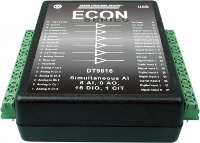 DT9816  Low Cost, Simultaneous USB Data Acquisition (DAQ) Module, 16-bit, 50kHz per channel, 6 AI, 16 DIO, 1 C/T