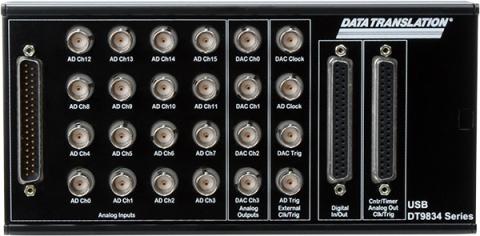 DT9834-16-4-16-BNC  High Performance USB DAQ Module; 16-bit, 500kHz, 16 AI, 4 AO, 32 DIO, 5 C/T, BNC Connectors