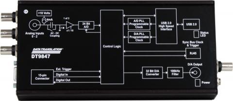 DT9847-2-2  USB Dynamic Signal Analyzer; 24-bit, 216 kHz, 2 IEPE AI, 2 AO.