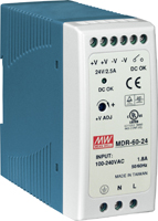 MDR60-24 24Vdc/60W Output Power Supply (DIN-Rail Mounting)