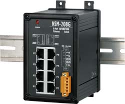 NSM-208G 8 port Gigabit Ethernet Switch - Rugged