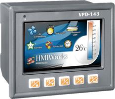 "VPD-143-H  4.3"" TouchPAD HMI Display, IP65 Panel, Rubber keypad, PoE"